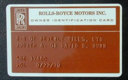 Owners ID card with the chassis-number.